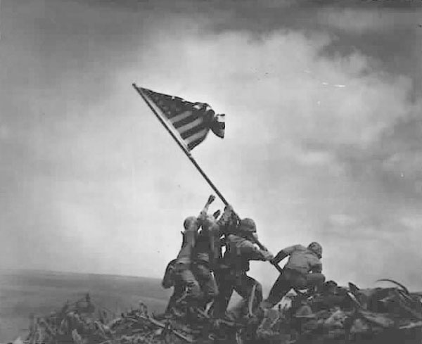 Marines raising US Flag over Iwo Jima