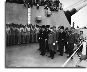JJapanese surrender signatories arrive aboard the USS Missouri