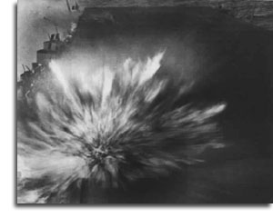 Photo taken by Robert Read of an explosion on the U.S.S. Enterprise