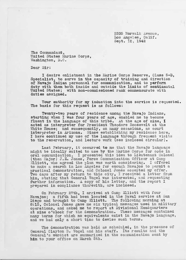 September 12, 1942 letter proposing to enlist Navajo personnel for communication in the Marine Corps