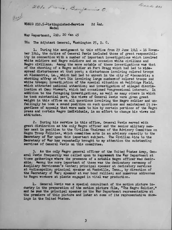 January 20, 1942 Memorandum awarding General Benjamin Davis the Distinguished Service Medal -- Page 1