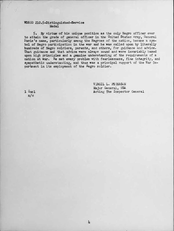 January 20, 1942 Memorandum awarding General Benjamin Davis the Distinguished Service Medal -- Page 2