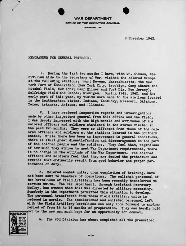 November 9, 1943 Memorandum from General Benjamin Davis regarding his visits with colored troops at several bases -- Page 1