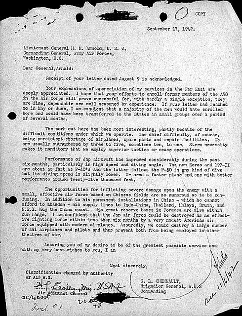 September 17, 1942 letter from  Brig. Gen. C. L. Chennault reporting Flying Tigers activities