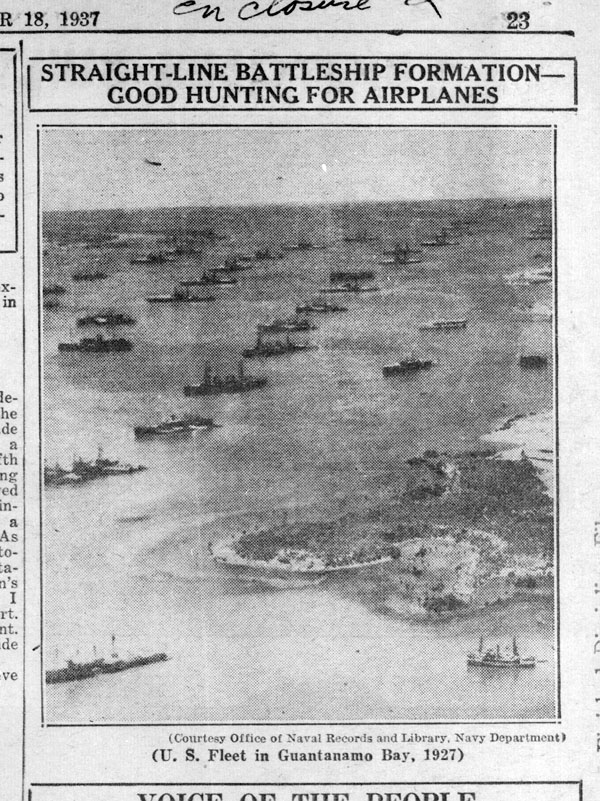 A 1927 Navy photograph of the U.S. fleet in Guantanamo Bay  showing orderly  formation of battle ships