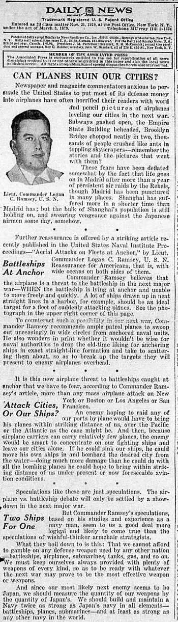 News Editorial by Lt. Comdr. L. C. Ramsey  abour possible  impact of an aerial attack on ships in harbor