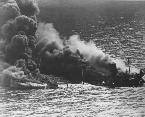 U.S.S. Reuben James sinking, October 31, 1941 - National Archives photo