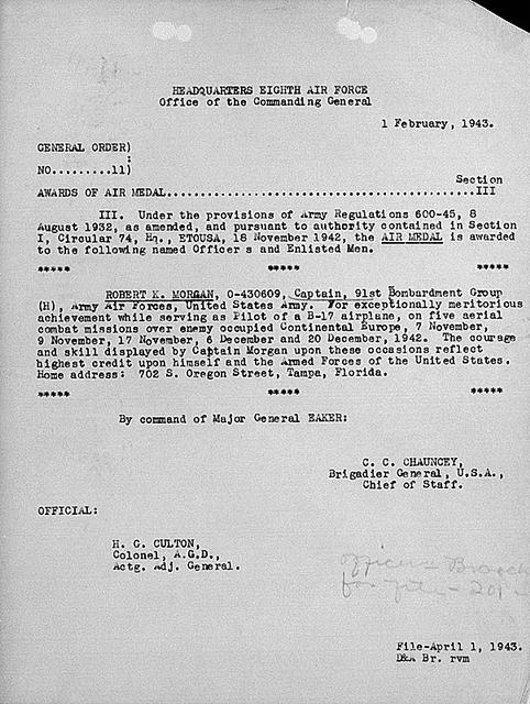 February 1, 1943 Letter awarding Air Medal to the captain and crew of the 91st Bombardment Group (the Memphis Belle)