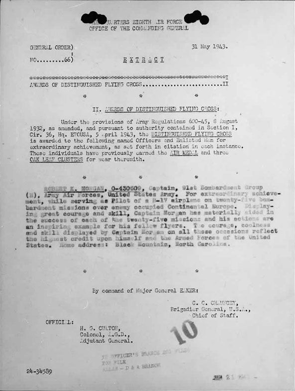 May 31, 1943 Letter Awarding  the Distinguished Flying Cross to Capt. Robert Morgan and the crew of the Memphis Belle