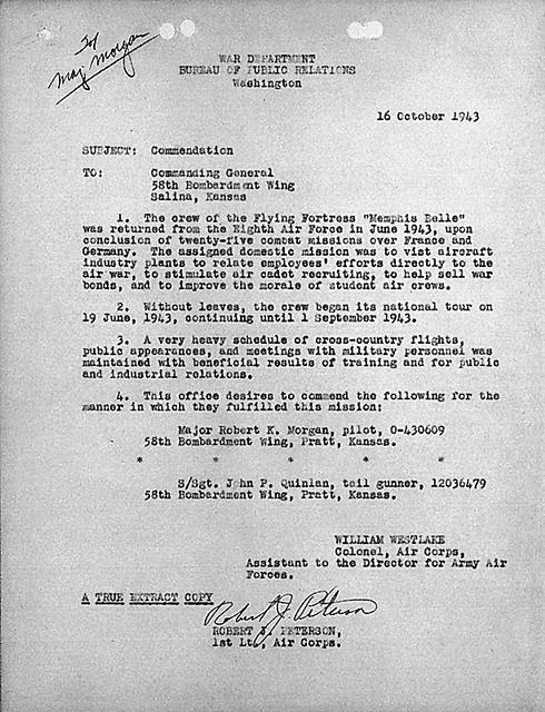October 16, 1943 Commendation memo from Col. W. Westlake regarding the US public relations tour by the crew of the Memphis Belle after returning from combat