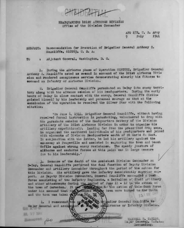 July 9, 1943 Memorandum recommending promotion for Brig. Gen. Anthony McAuliffe