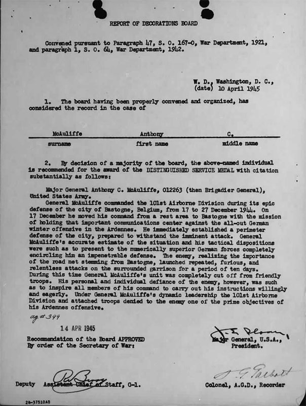 April 10, 1945 Letter awarding Distinguished Service Medal to Maj. Gen. Anthony McAuliffe