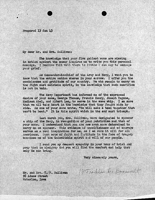 January 13, 1943 letter from Franklin Roosevelt to the parents of the five Sullivan Brothers