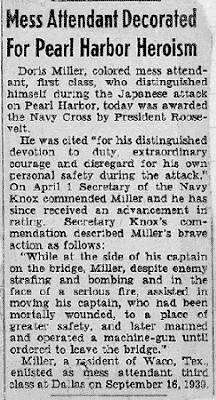Newspaper article about Doris Miller
