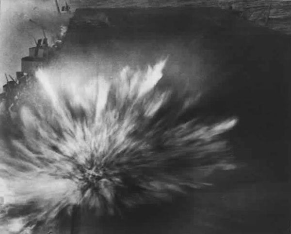 Photo taken by Robert Read of an explosion on the USS Enterprise