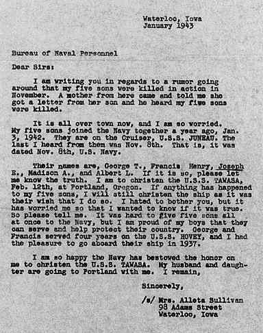 Copy of January 1943 letter from Alleta Sullivan to the US Navy inquiring whether her five sons had been killed in action