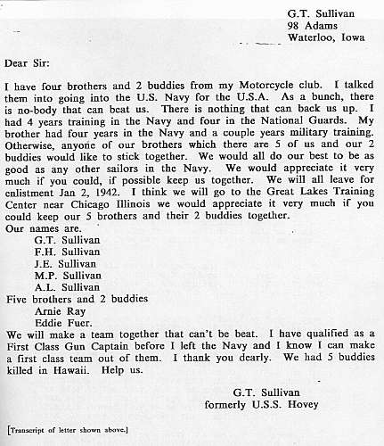 Transcript of G.T. Sullivan's letter to the Navy requesting that he, his four brothers and two other friends serve aboard the same ship