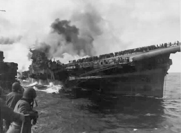 U.S.S. Franklin burning -- March 19, 1945