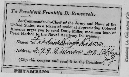 Coupon from Write-In Campaign to send Dorie Miller to the US Naval Academy