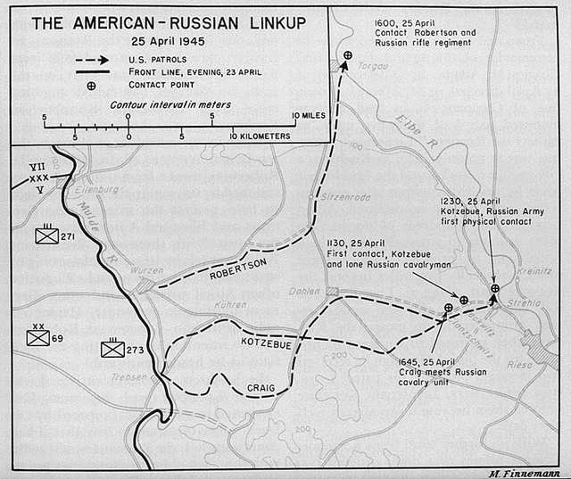 Map showing location of meeting betwen US and Russian troops on April 25, 1945