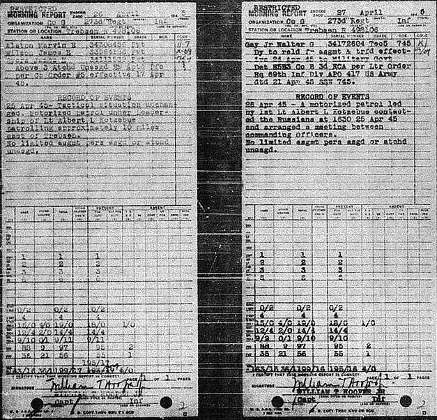 April 27, 1945 Morning Report detailing meeting of US and Russian troops at the Elbe