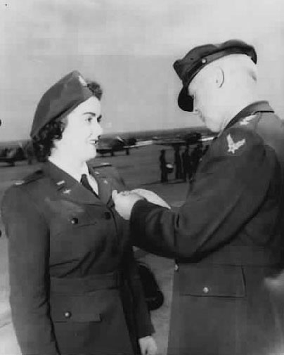 WASP Pilot Barbara Erickson the Air Medal for Meritorious Achievement as a Pilot