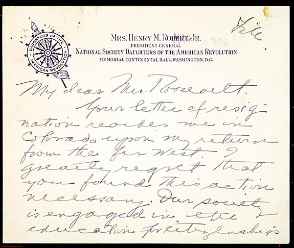 DAR Letter to Eleanor Roosevelt on Marian Anderson