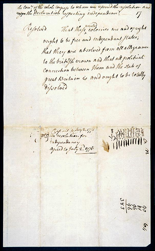 Richard Henry Lee's resolution calling for a declaration of independence - National Archives