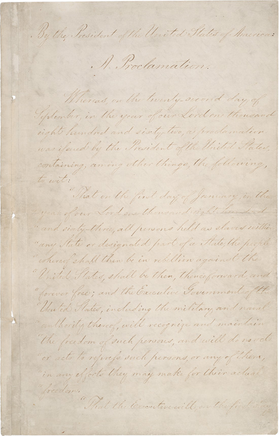Page 1 of the Emancipation Proclamation