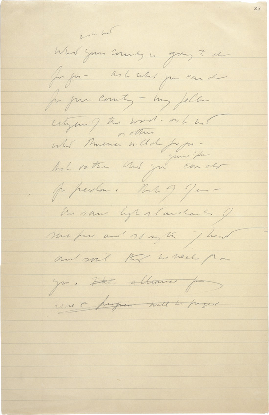 JFK's handwritten notes for the 1961 inaugural address