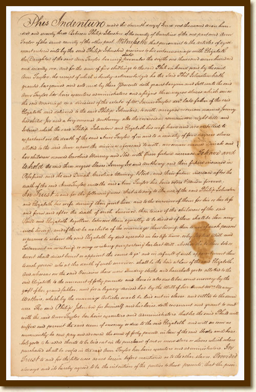 Dowry Gift of Slaves, Ann Taylor v. Thomas Hart, Jr., June 11, 1773