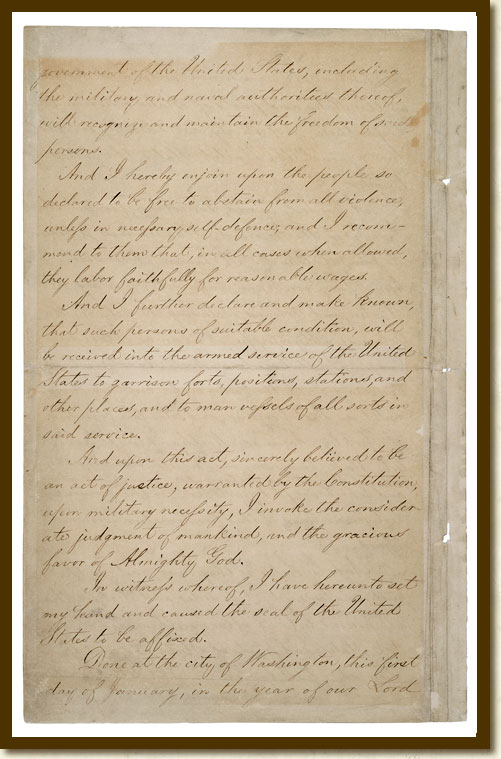 documented rights image detail  emancipation proclamation