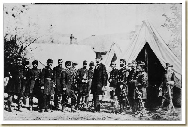 Photograph of President Abraham Lincoln and His Generals After Antietam, 1862