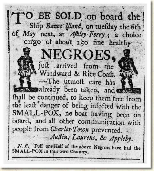 Slave Advertisement, Charleston, South Carolina, 1780s