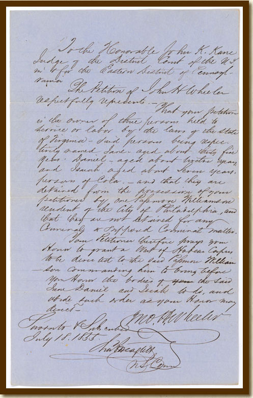 Petition by John Hill Wheeler, July 18, 1855