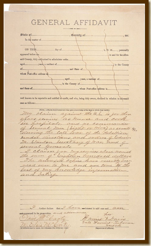 Request for Compensation, General Affadavit of Harriet Tubman Relating to Her Claim for a Pension