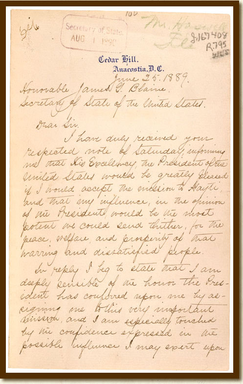 Letter from Frederick Douglass to Secretary of State James G. Blaine