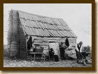 African American Family Outside Their Cabin in Virginia