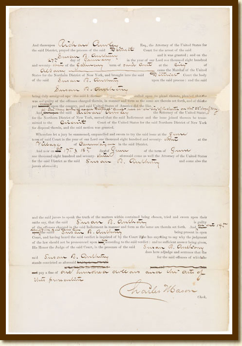 U.S. vs. Susan B. Anthony, Record of Conviction