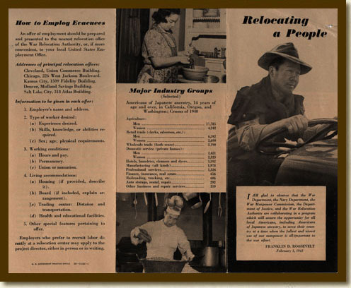 Brochure, 'Relocating a People'