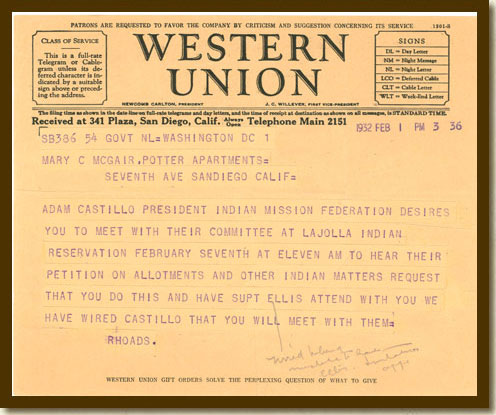 Telegram from Commissioner Charles J. Rhodes to Mary McGair