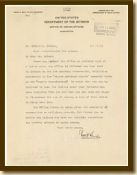 Letter from Indian Affairs Commissioner Charles Burke, April 7, 1926