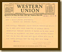 Telegram from Commissioner Charles J. Rhodes to Mary McGair, February 1, 1932