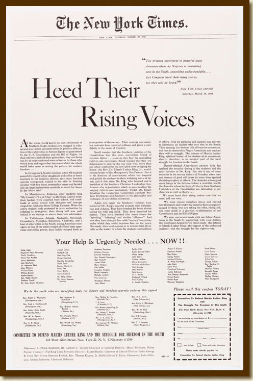 Advertisement, 'Heed Their Rising Voices'