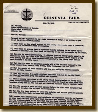 Letter from Koinonia Parents to the School Board, August 30, 1960