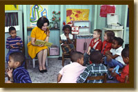 Photograph, Lady Bird Johnson Visiting a Project Head Start Classroom, March 19, 1966