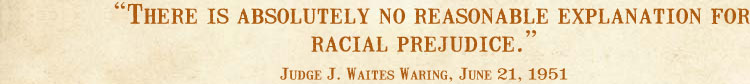 There is absolutely no reasonable explanation for racial prejudice. -Judge J. Waites Waring, June 21, 1951