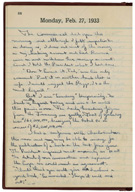 Diary of Theodore Joslin, secretary to President Herbert Hoover, February 27, 1933