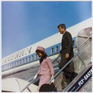 President and Mrs. Kennedy deplane from Air Force One at Love Field in Dallas, photograph by Cecil Stoughton, November 22, 1963