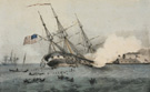 <em>The Sinking of the <em>Cumberland</em>,</em> hand-colored lithograph by F. Newman, published by Currier & Ives, ca. 1862